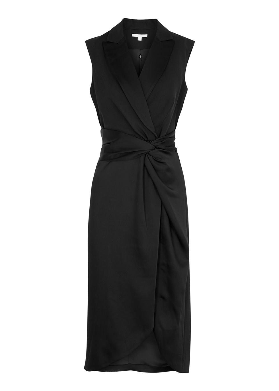 Black twist-effect satin midi dress