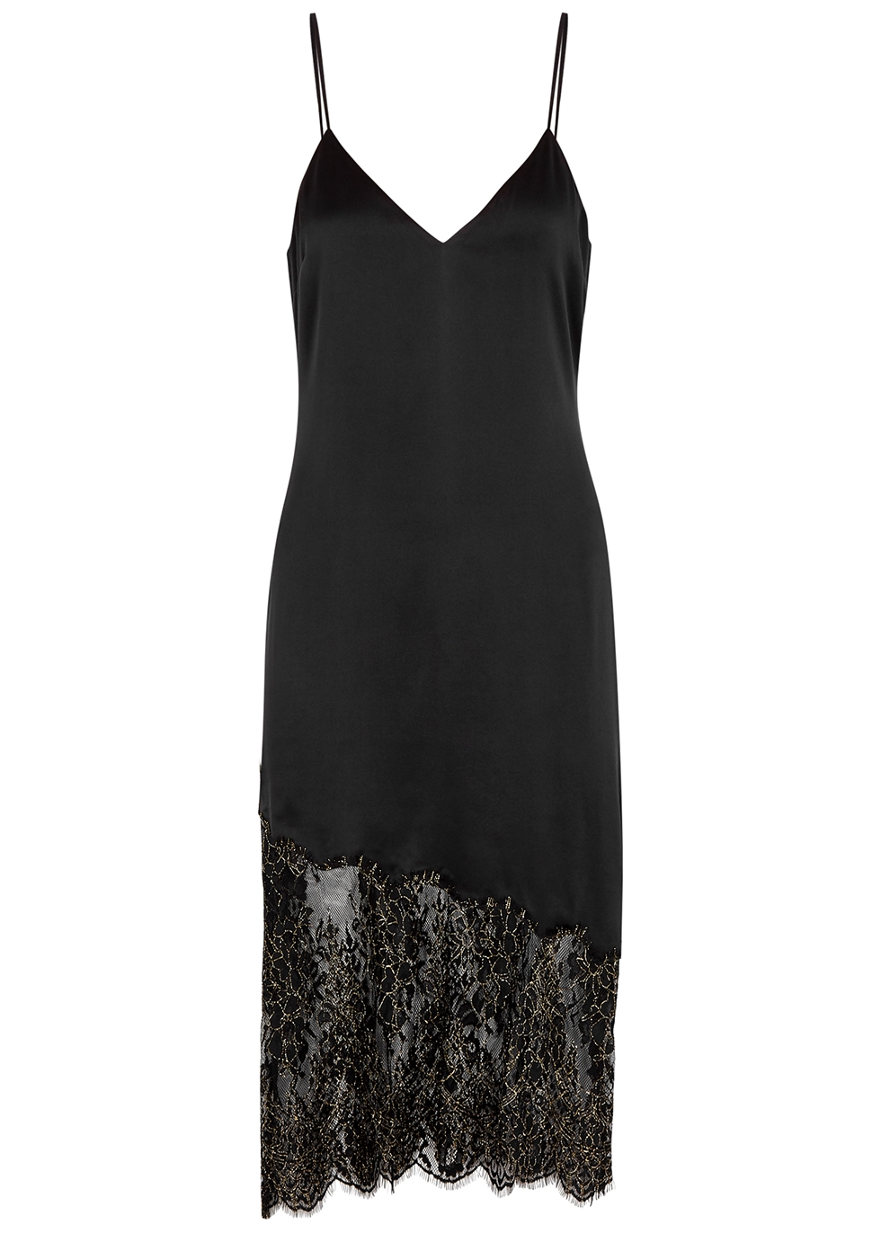 The Selena black lace-trimmed midi dress