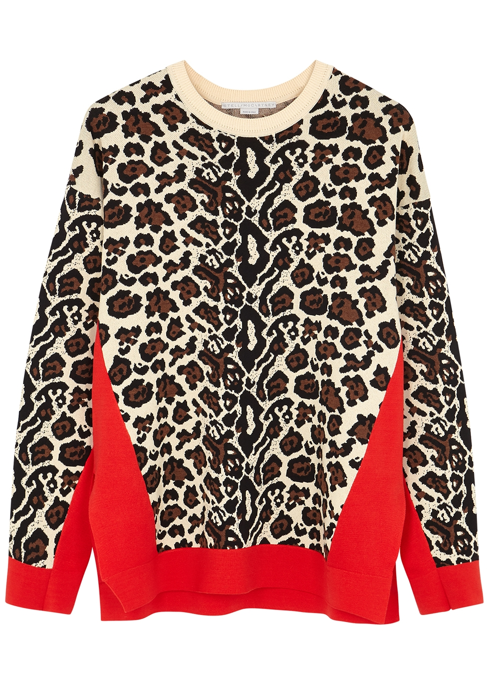Leopard-intarsia stretch-knit jumper