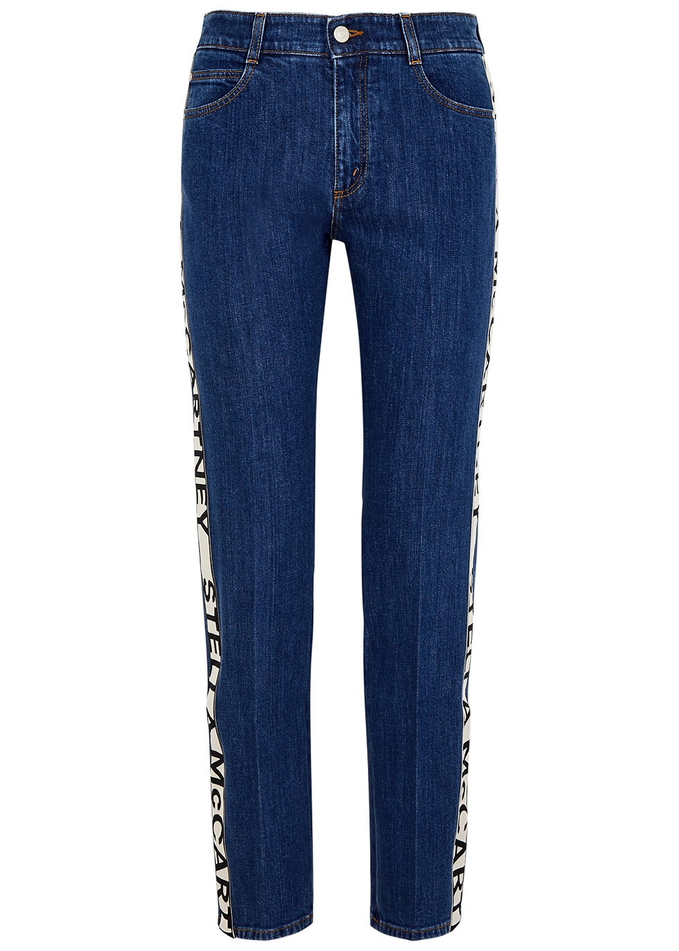 Dark blue logo straight-leg jeans