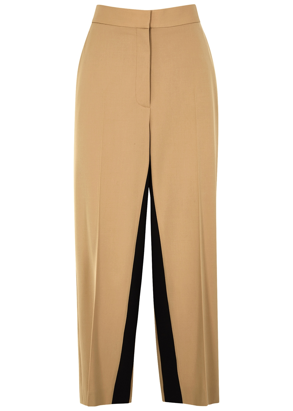 Tracy camel wide-leg twill trousers