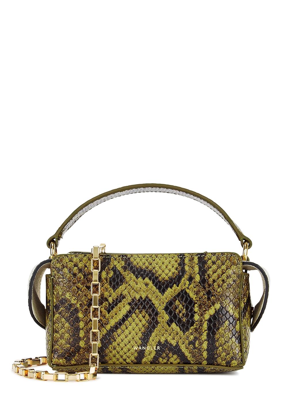 Yara mini python-effect top handle bag