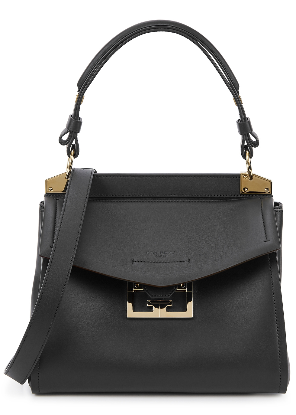 Mystic small black leather top handle bag