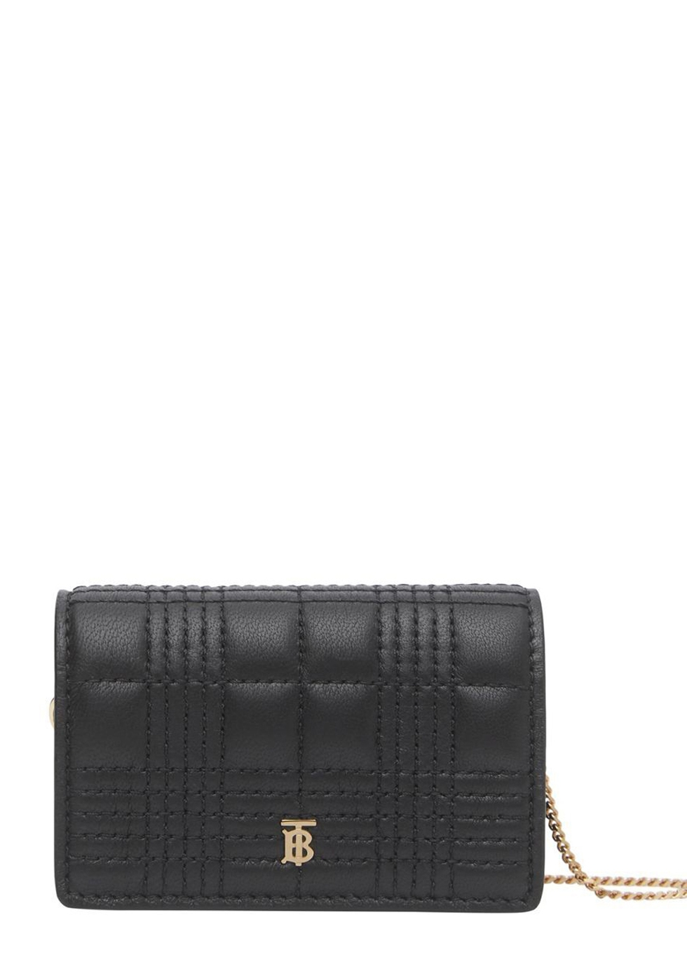 Jessie black leather card holder with chain