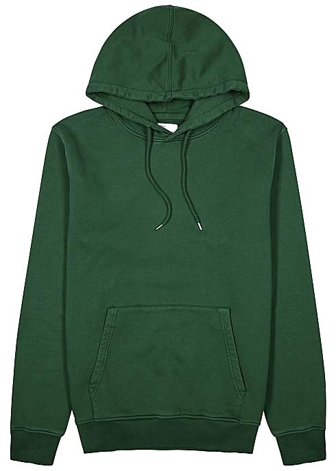 Dark green hooded cotton sweatshirt