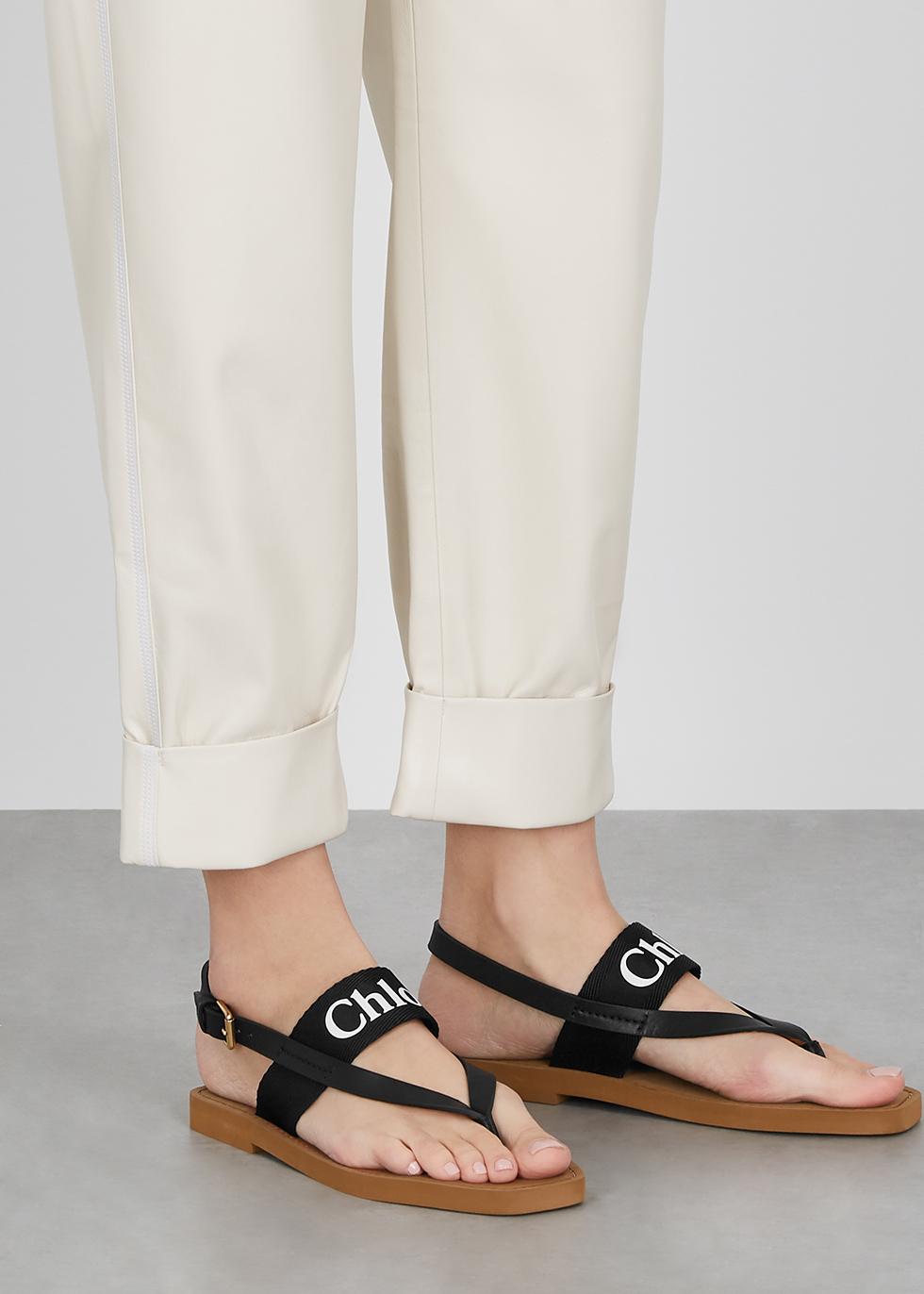 Chloé Black logo leather sandals
