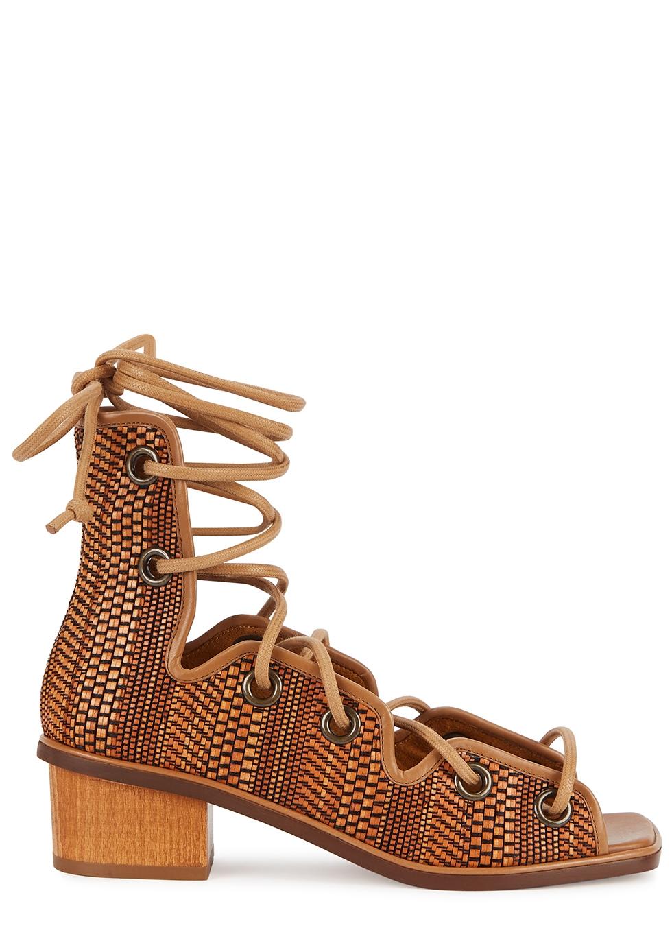 Maia 40 brown lace-up raffia sandals