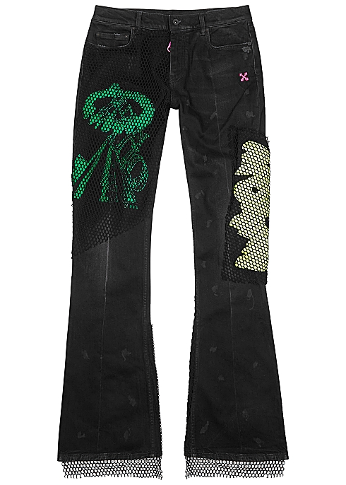 OFF-WHITE Black embroidered skinny flared jeans