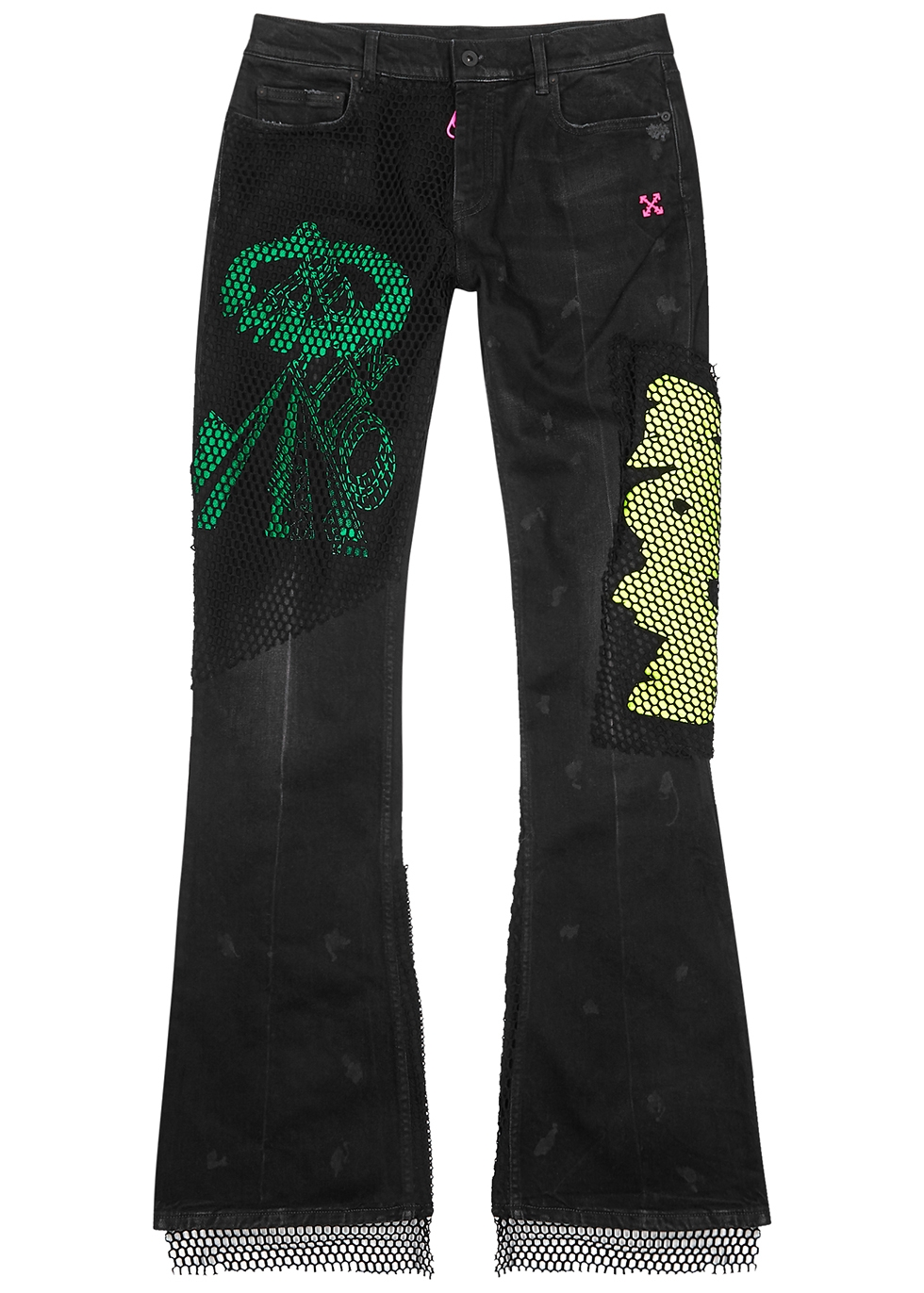 Black embroidered skinny flared jeans