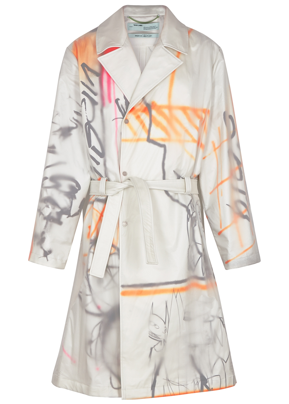 Printed shell and cotton trench coat