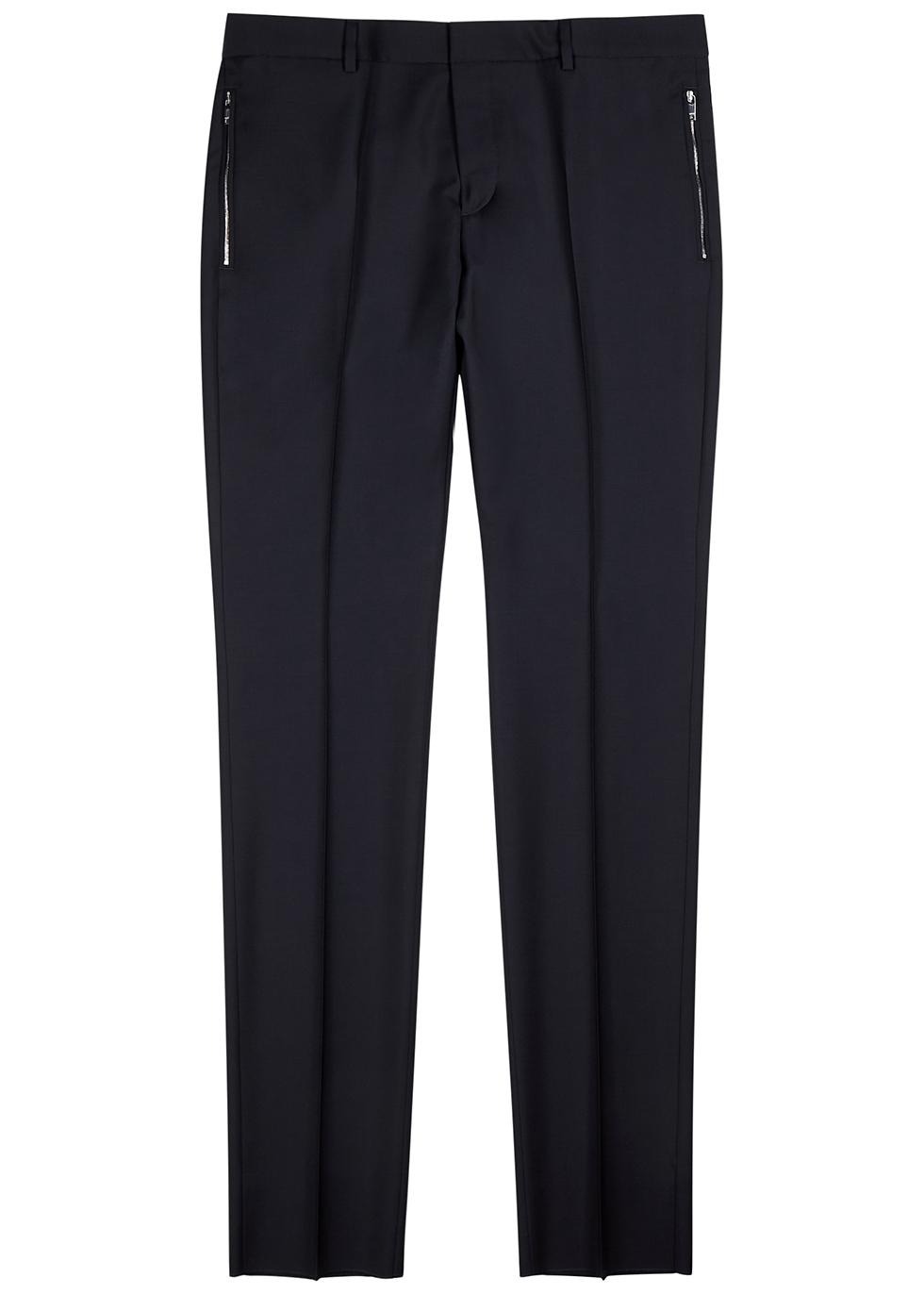 Navy slim-leg wool-blend trousers
