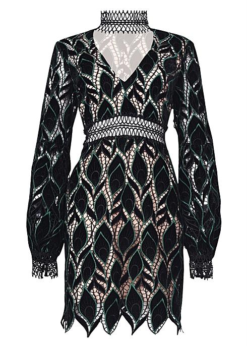 True decadence black green cut work velvet mini dress - True Decadence