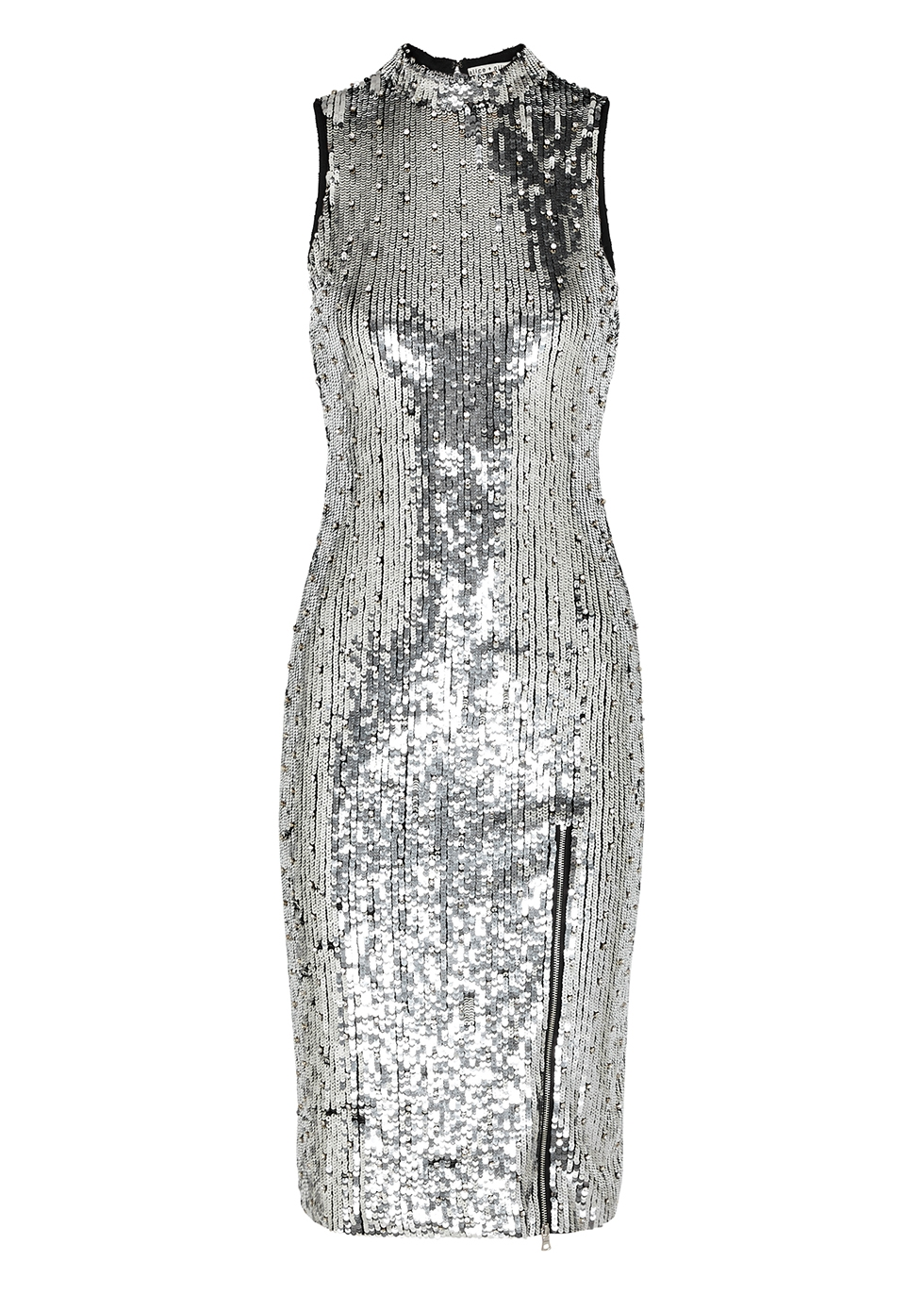 Malika silver sequin midi dress