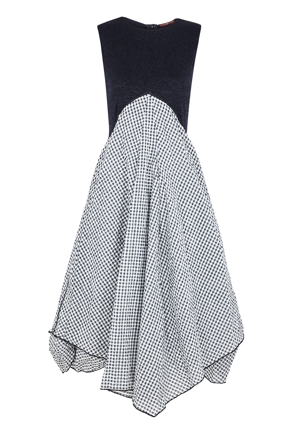Verity navy checked seersucker and jersey dress