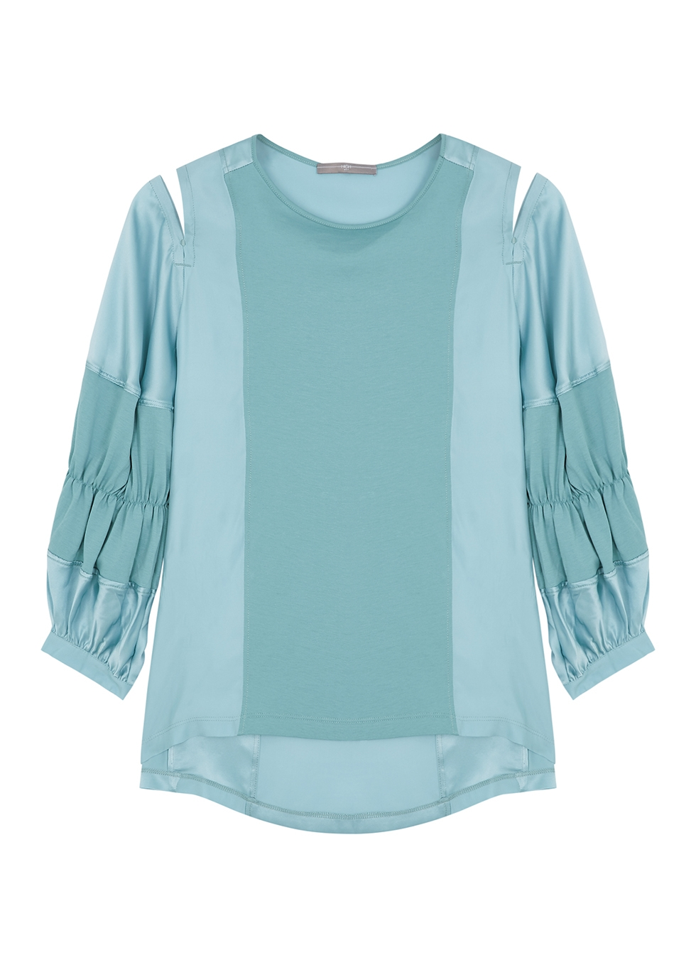 Clever turquoise cotton and silk blouse