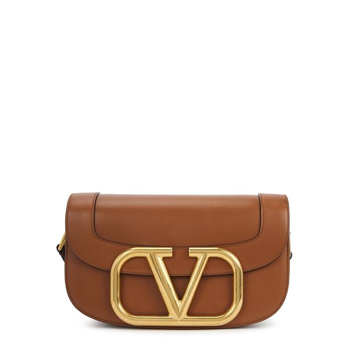 Valentino Garavani Garavani My Vlogo Brown Leather Saddle Bag In Tan