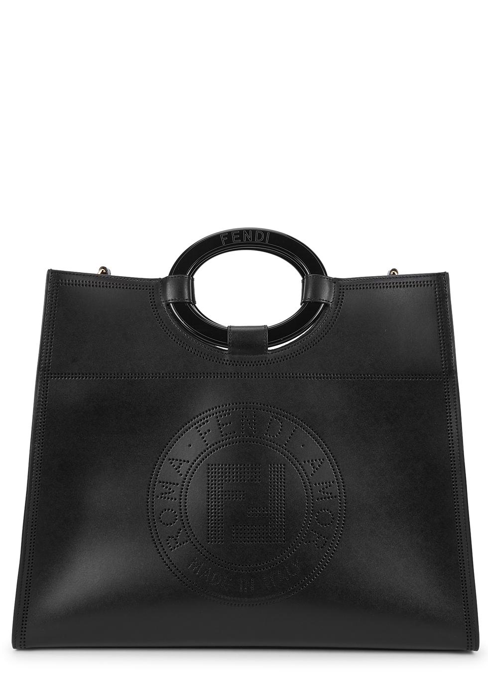Runaway black logo leather tote
