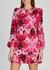 Pink floral-print silk mini dress - Alexander McQueen