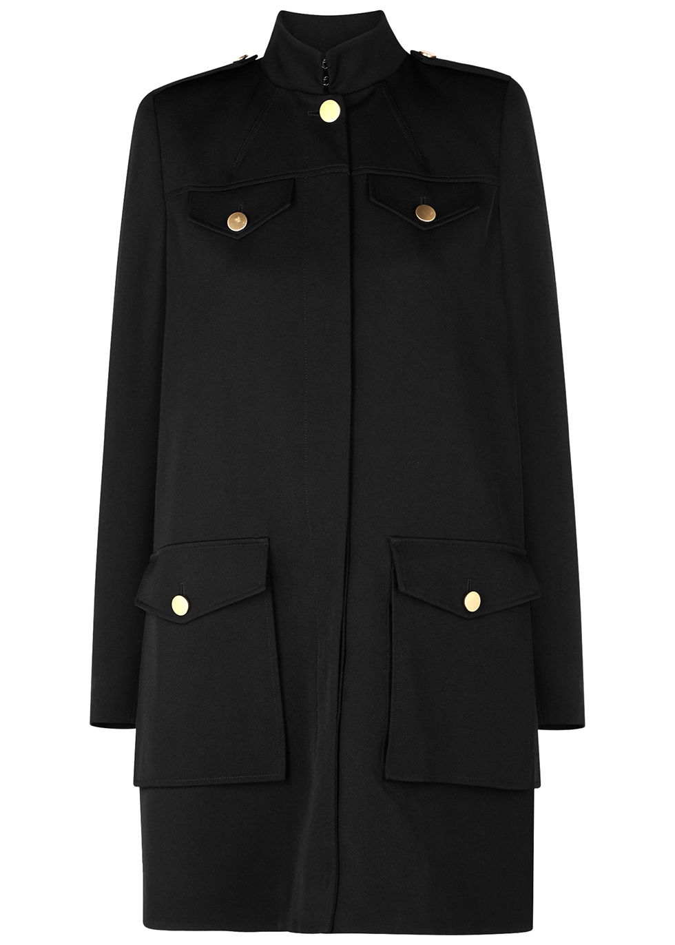 Black wool and silk-blend coat