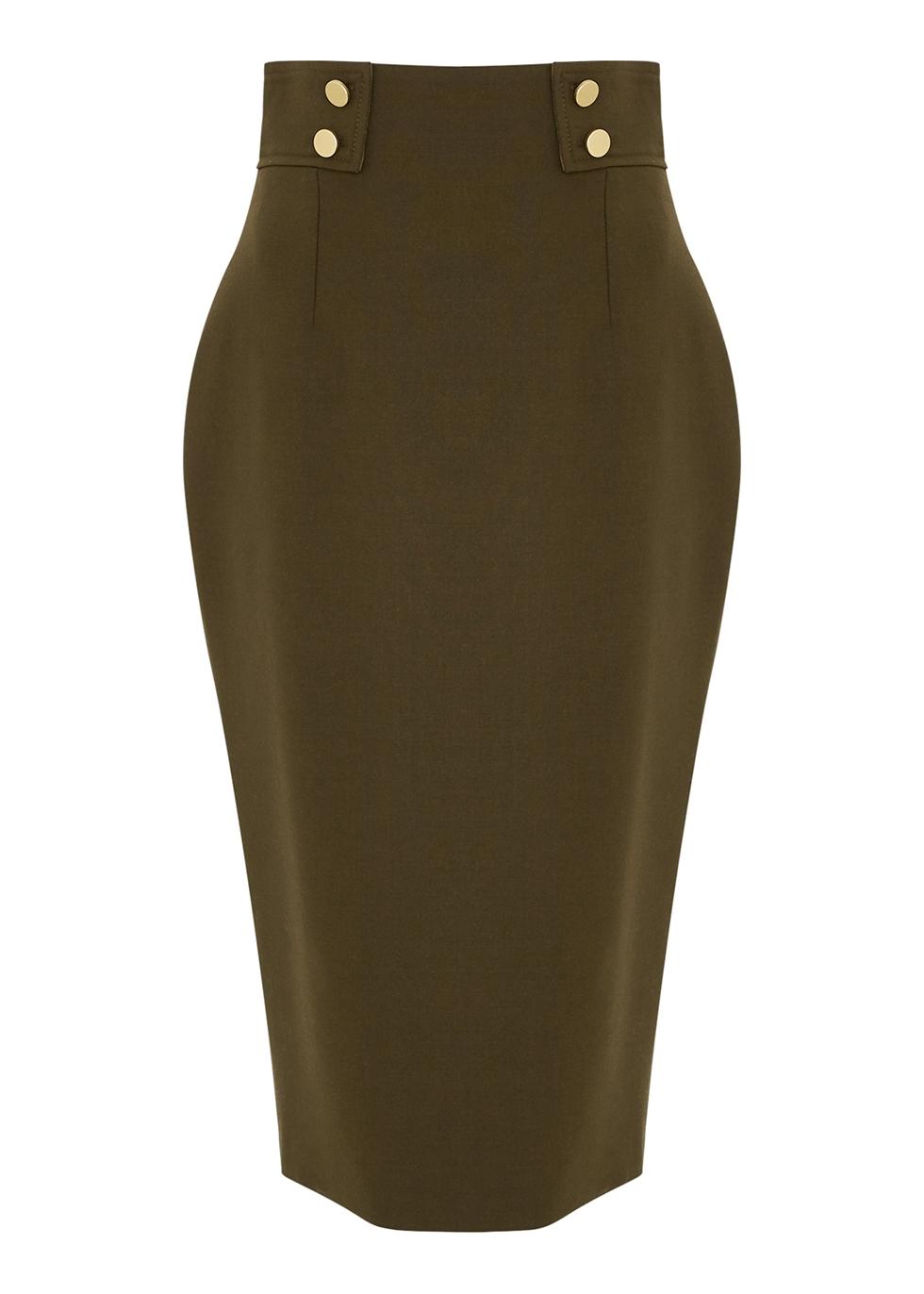 Dark green wool-blend pencil skirt