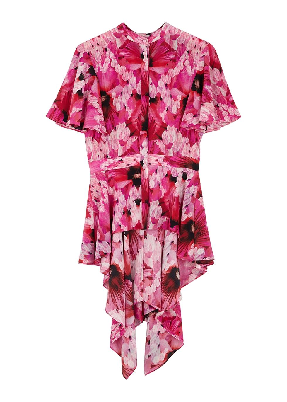 Pink floral-print peplum silk blouse