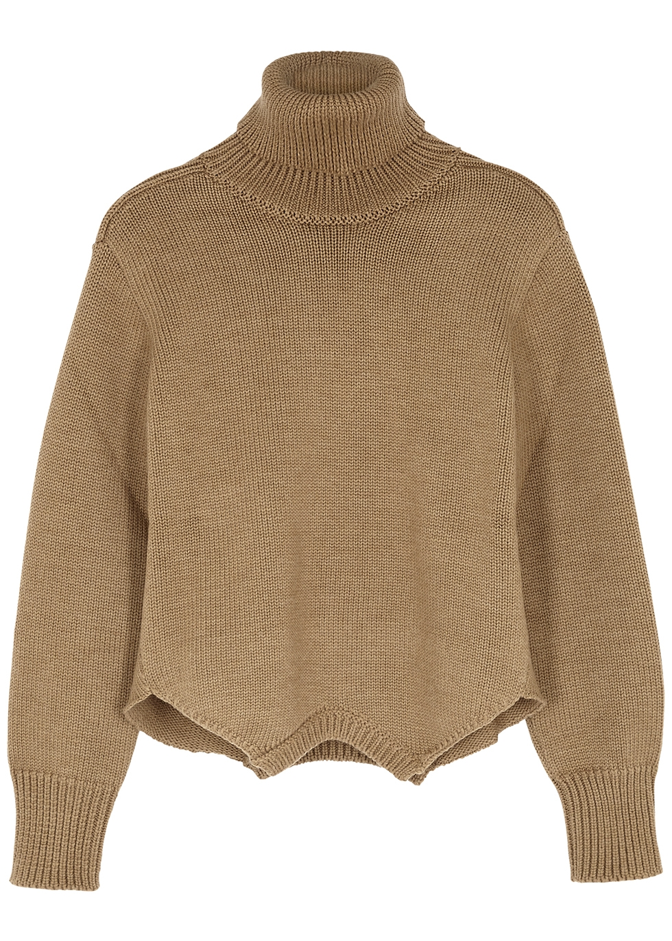 Brown roll-neck merino wool jumper