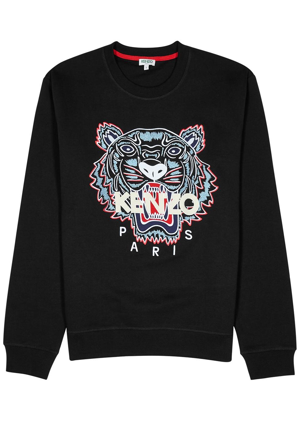 Kenzo Black tiger embroidered cotton sweatshirt Harvey Nichols