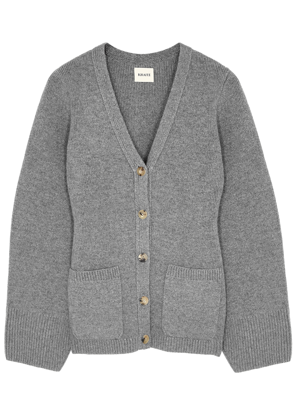 Lucy grey stretch-cashmere cardigan