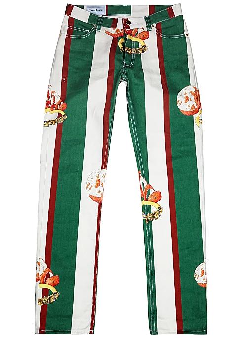 CASABLANCA Orange Et Or Stripes straight-leg jeans