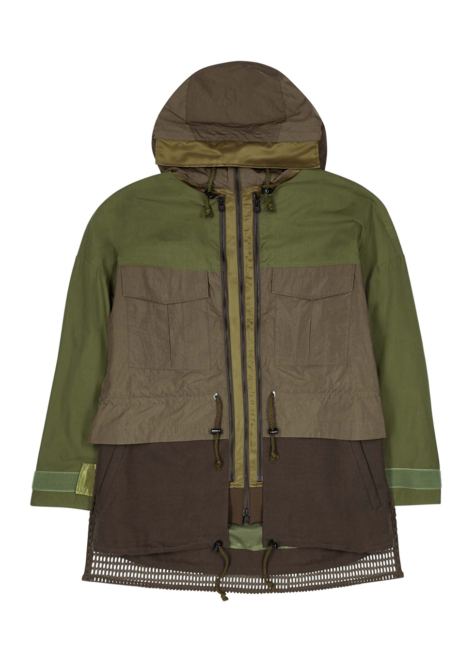 Army green panelled cotton-blend jacket