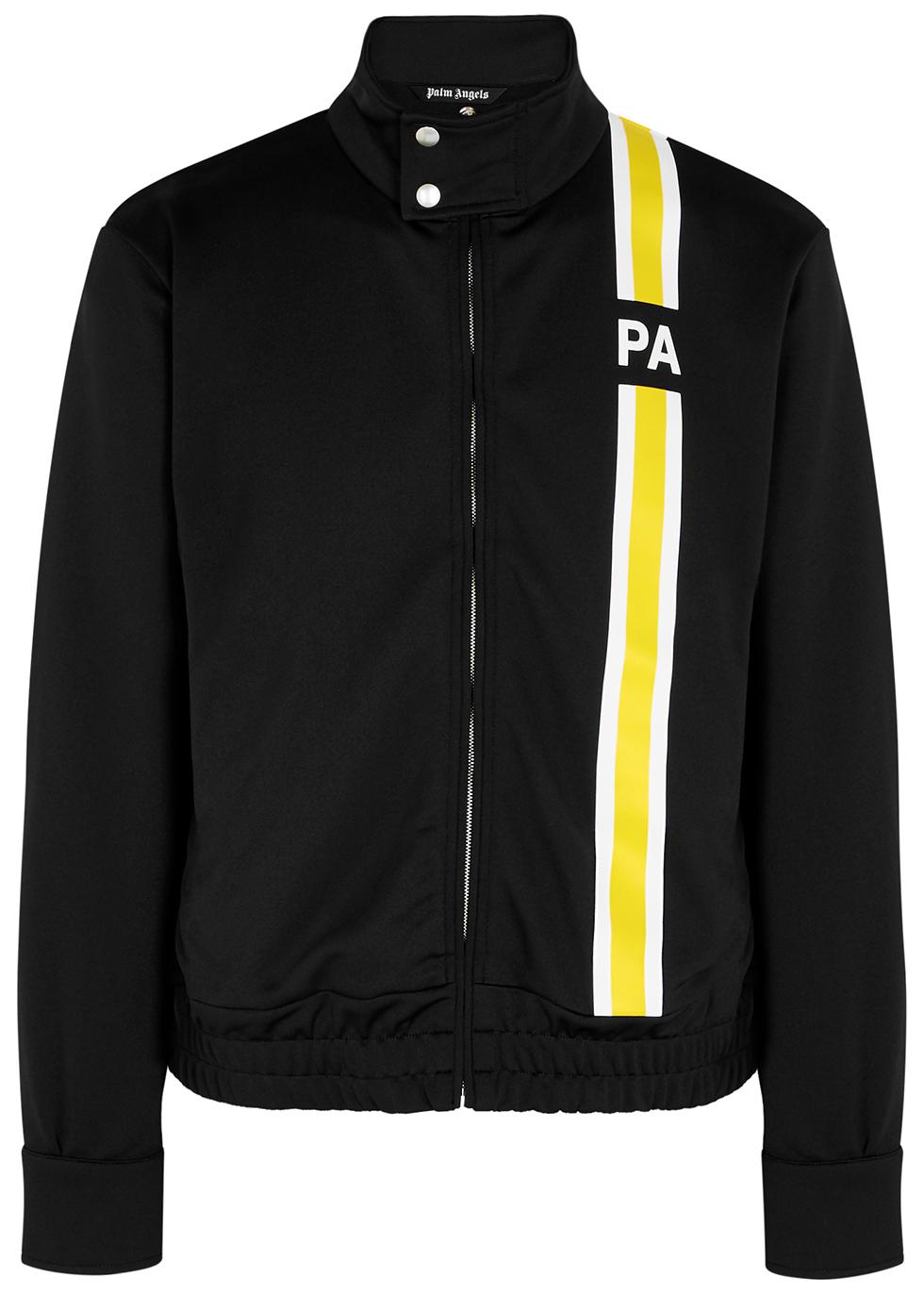 Black striped jersey track jacket