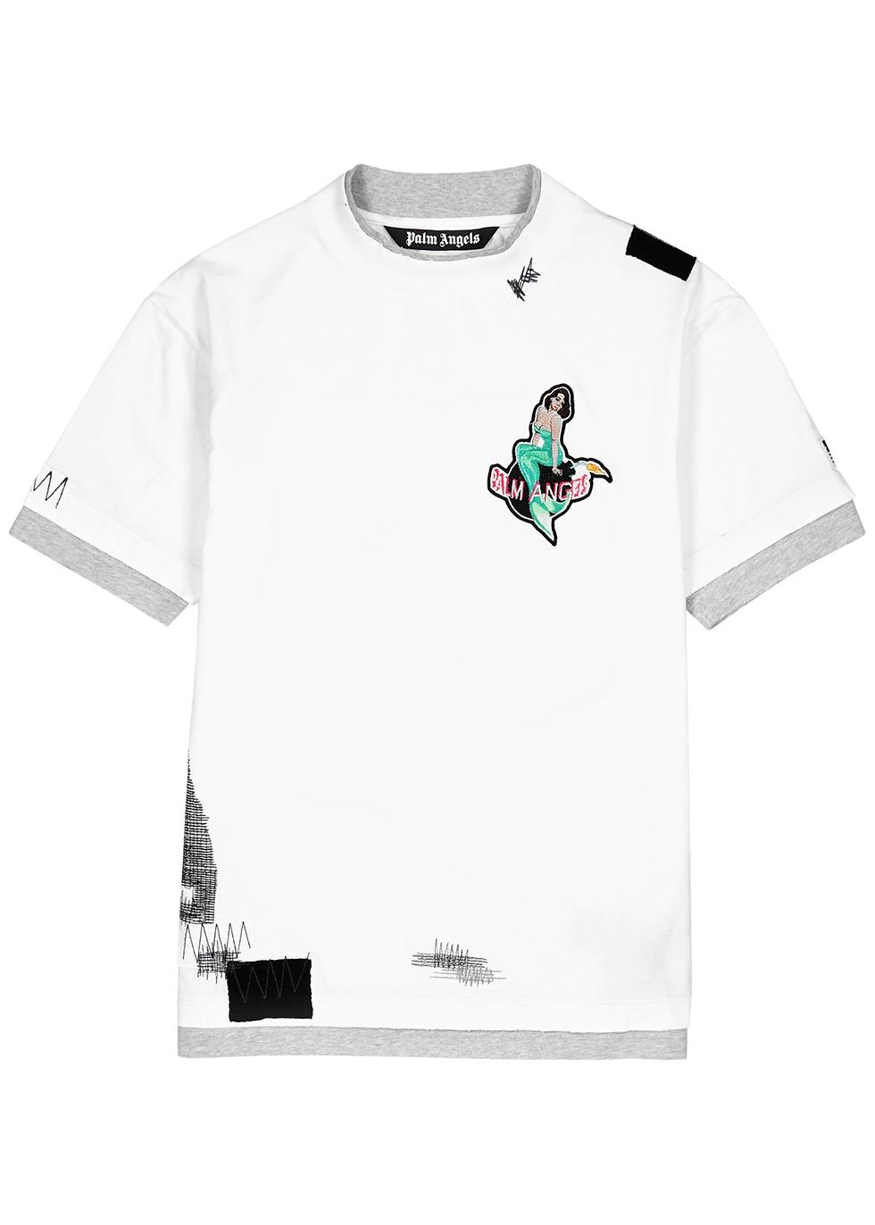 White distressed cotton T-shirt