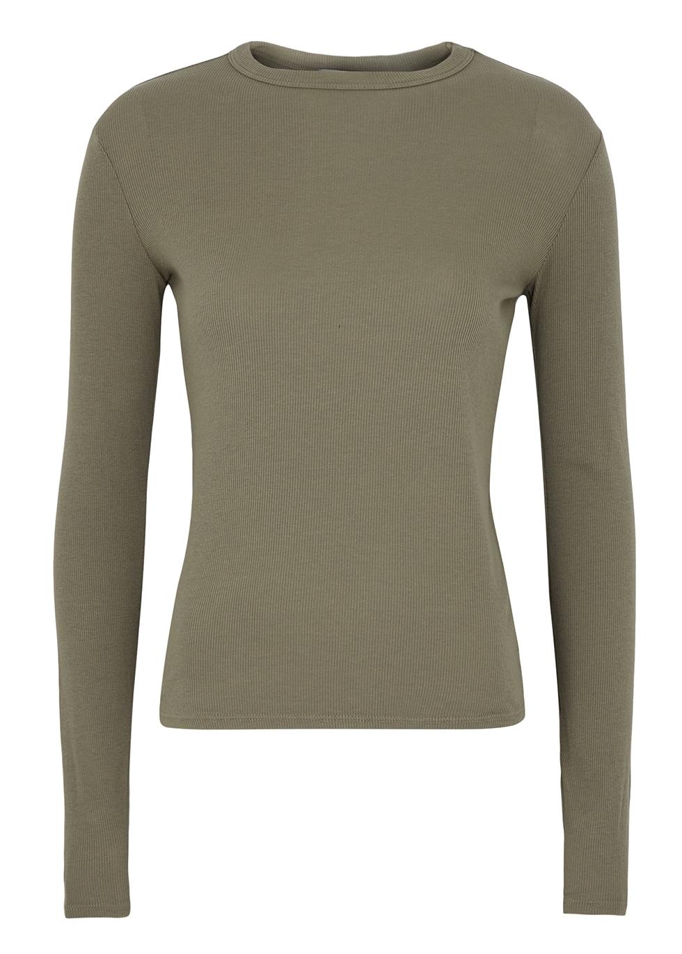 Verona green ribbed jersey top