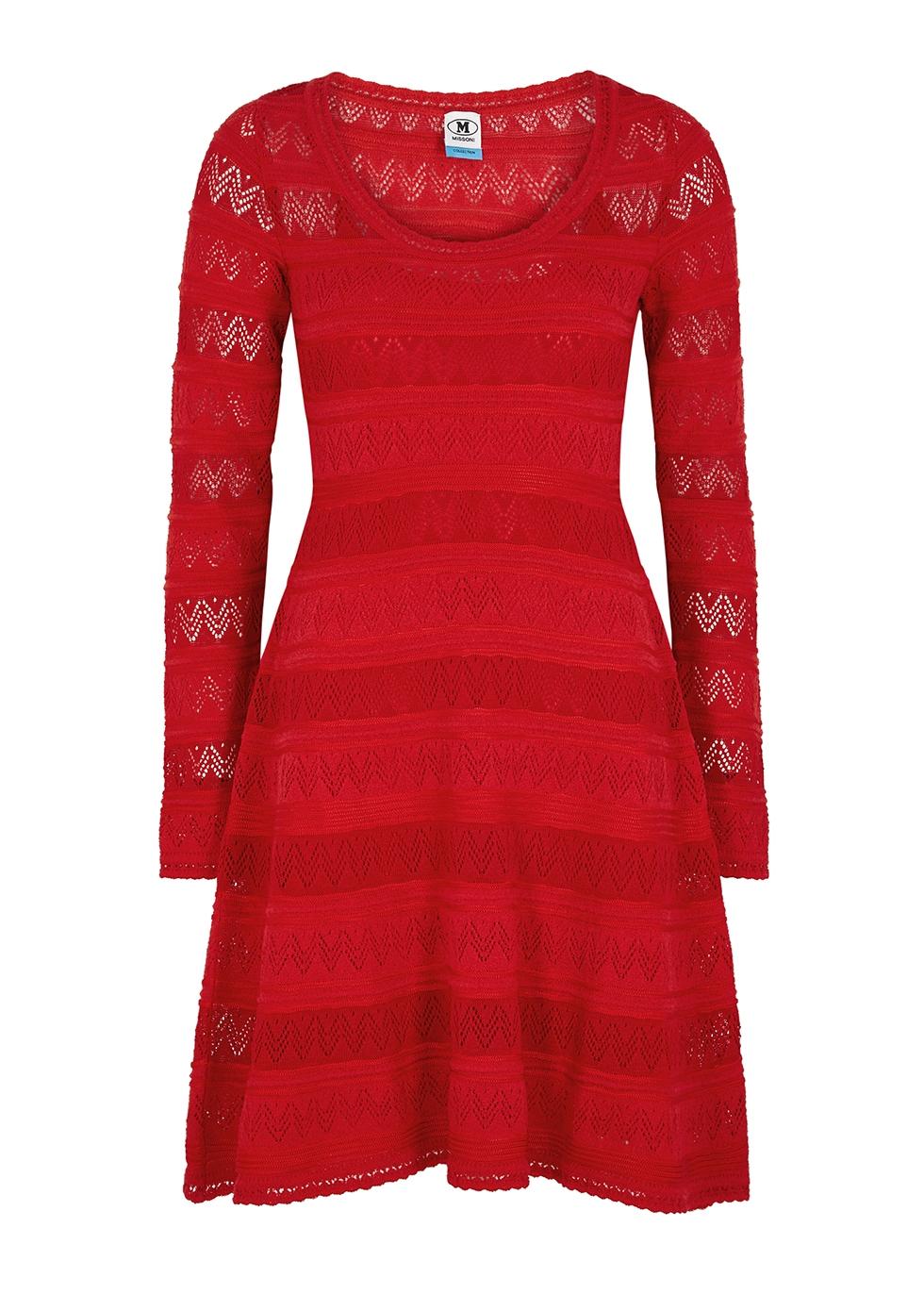 Red textured-knit mini dress