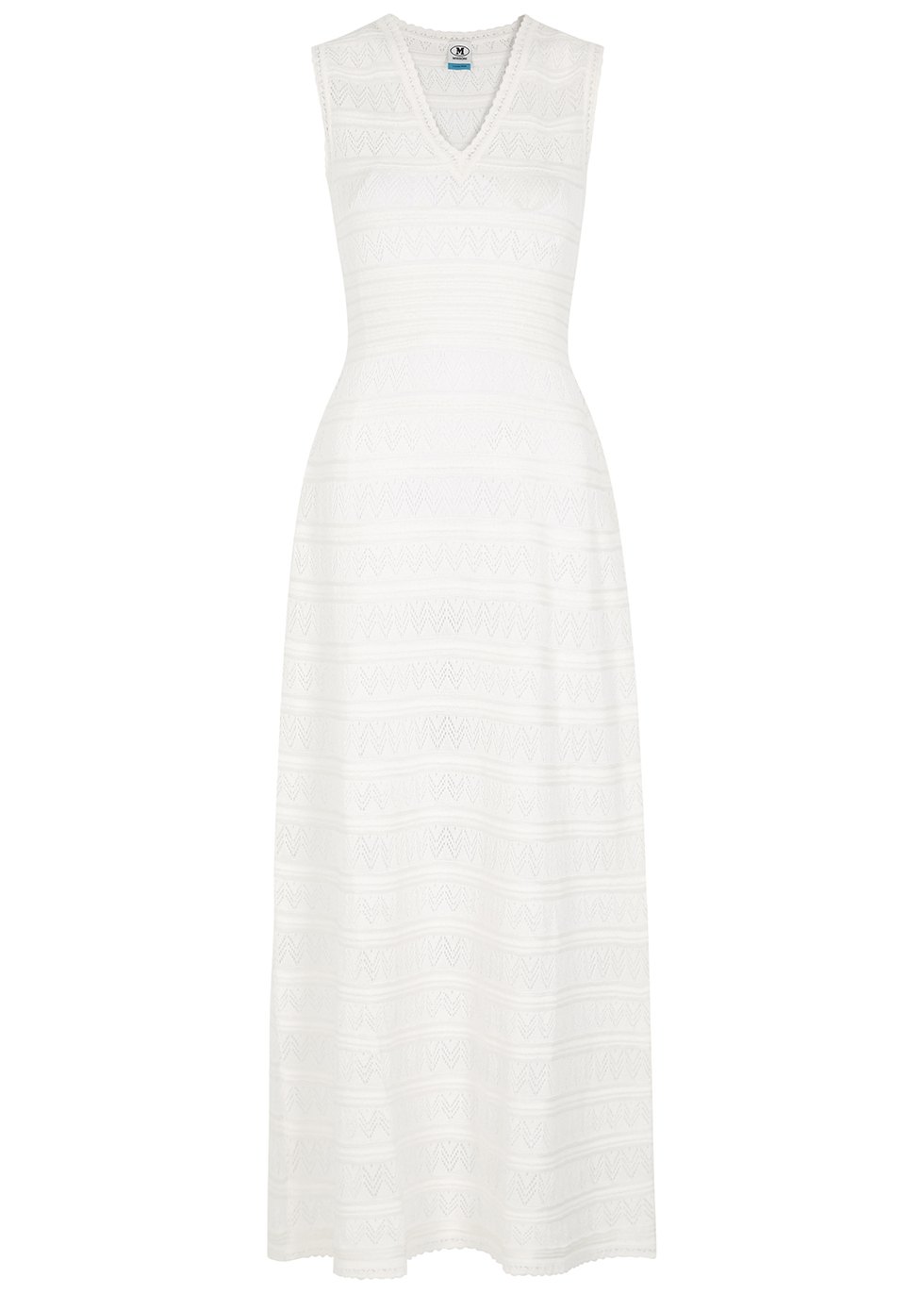 Ivory pointelle-knit maxi dress