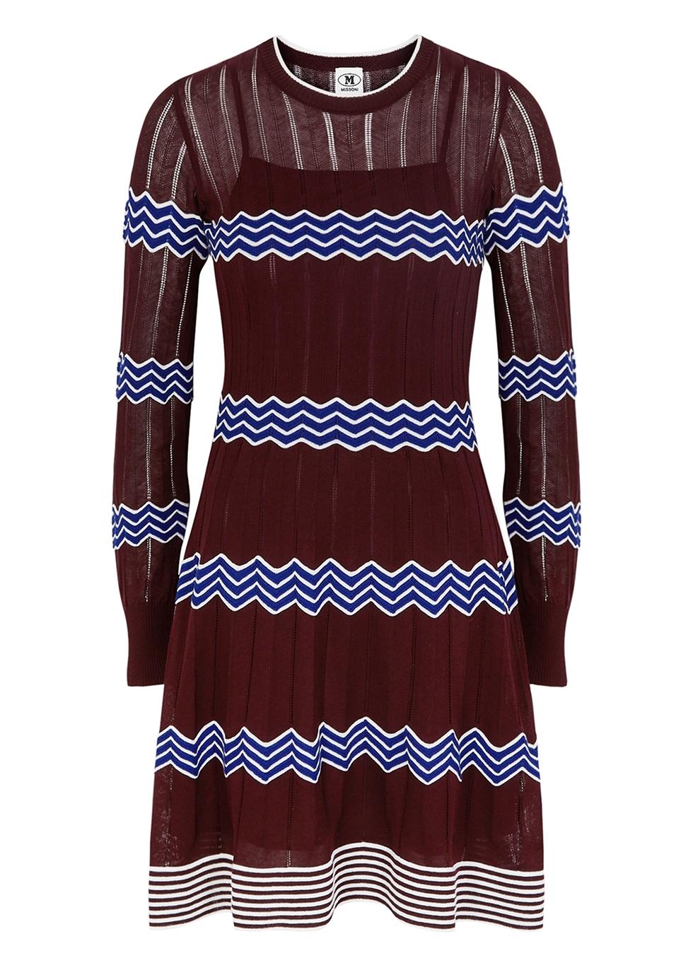 Bordeaux zigzag cotton-blend mini dress