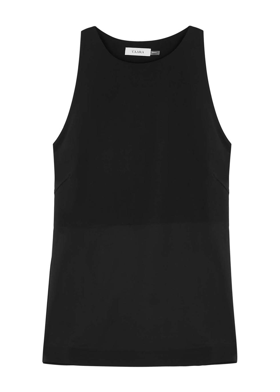 Bettina black stretch-jersey top