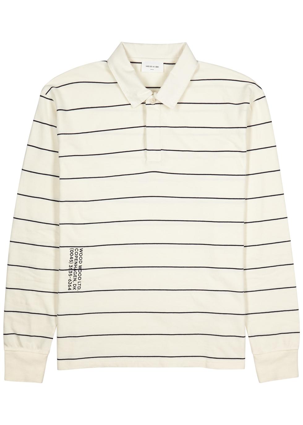 White striped cotton polo shirt