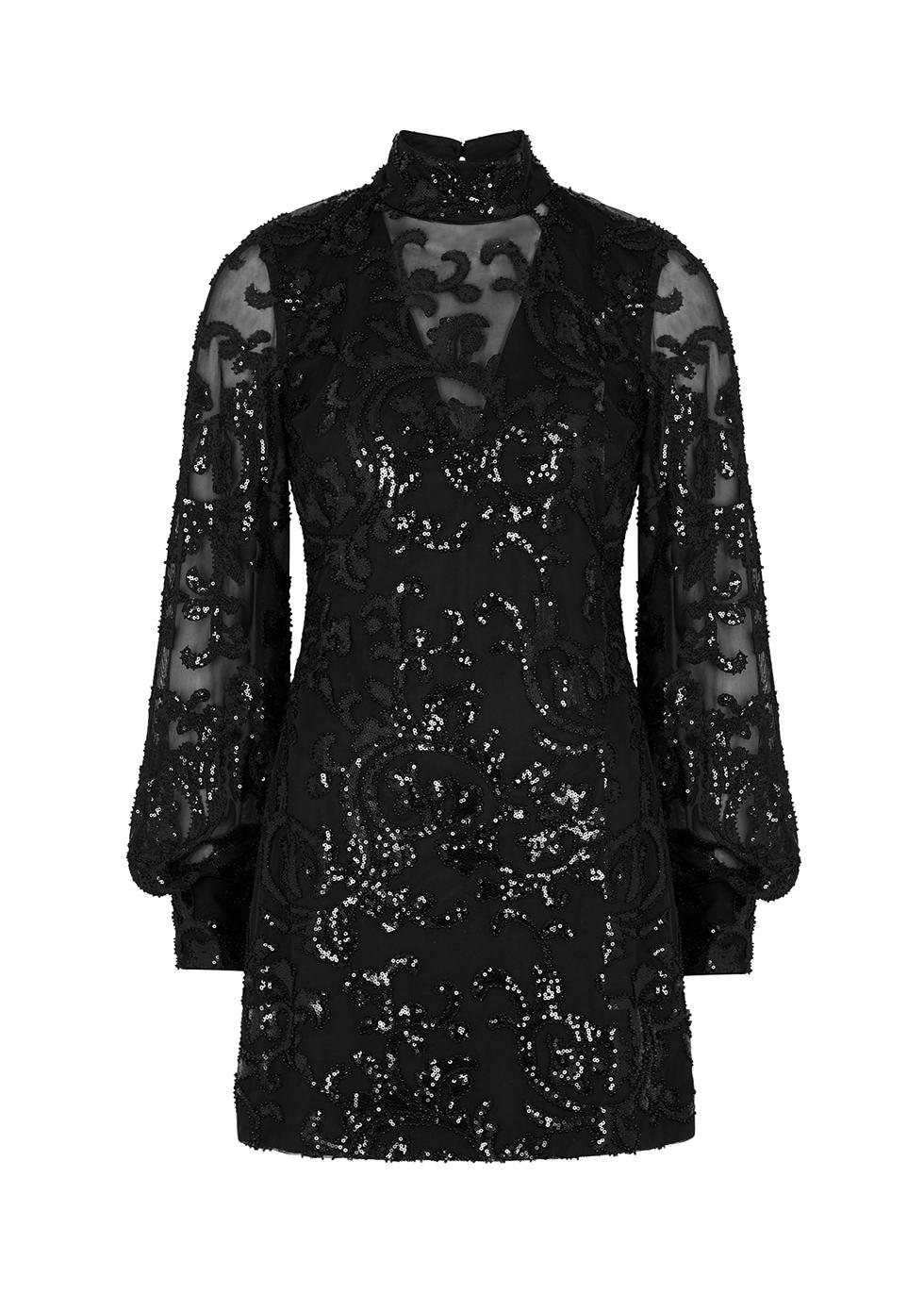 Franciska black sequin-embellished mini dress