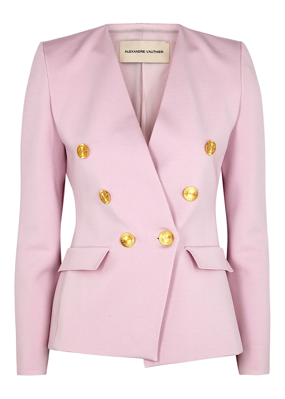 Pink double-breasted stretch-knit blazer