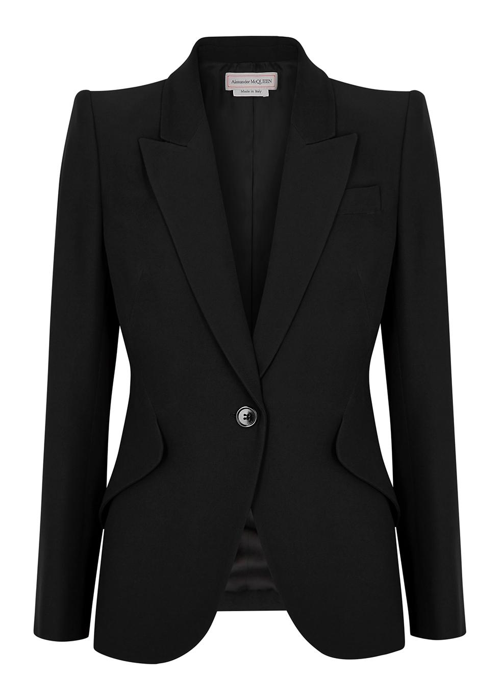 Black tailored woven blazer