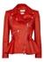 Red peplum leather biker jacket - Alexander McQueen