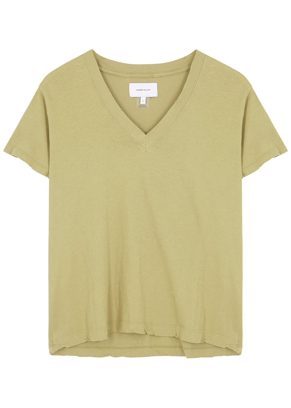 Olive distressed cotton T-shirt
