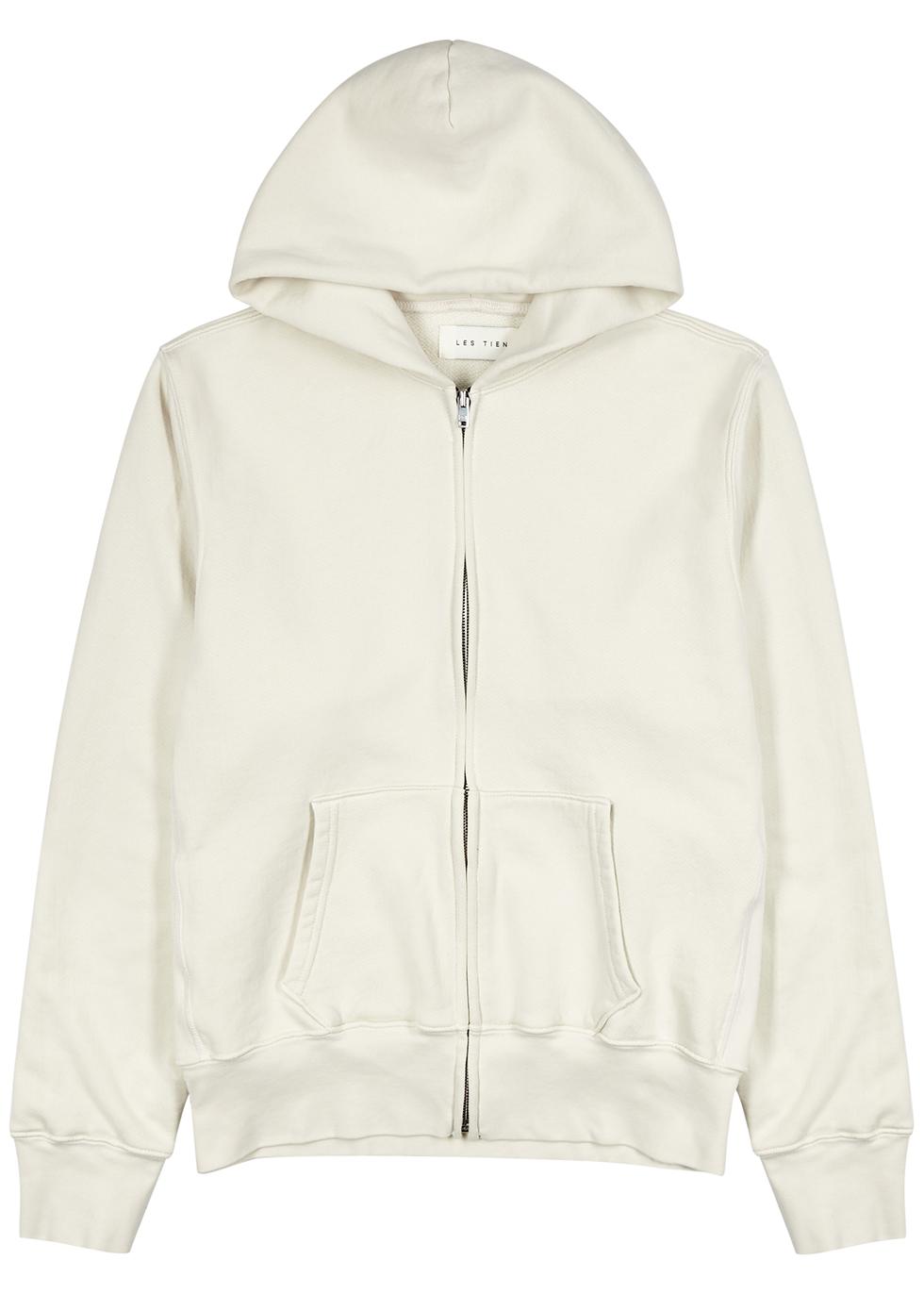 Ecru hooded cotton sweatshirt