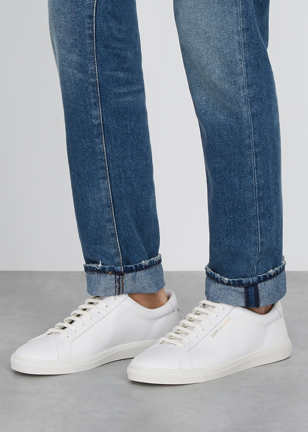 Saint Laurent Andy white leather