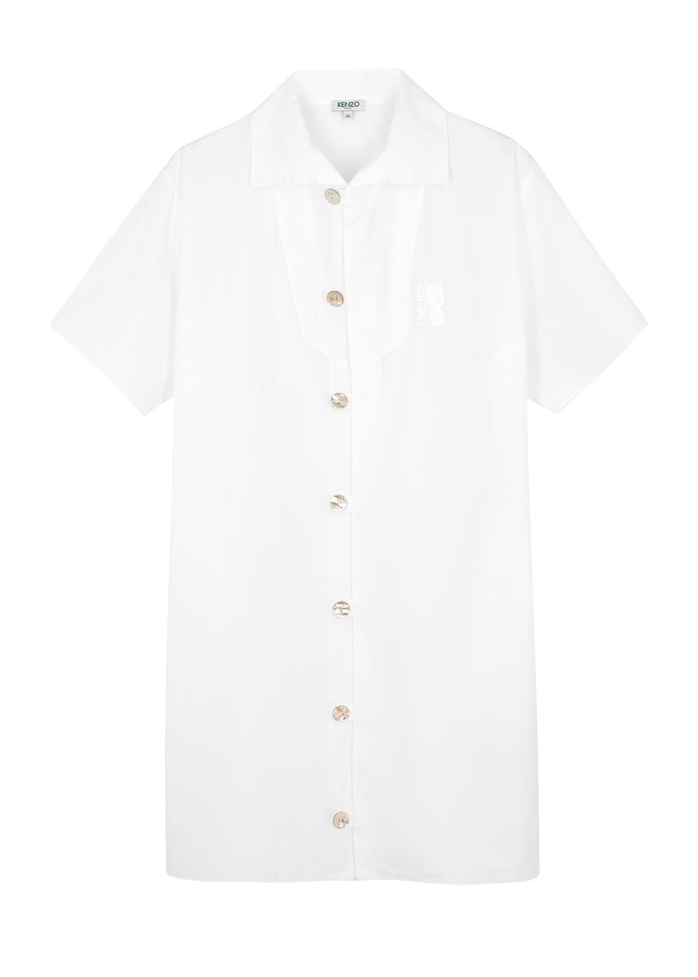 White poplin shirt dress