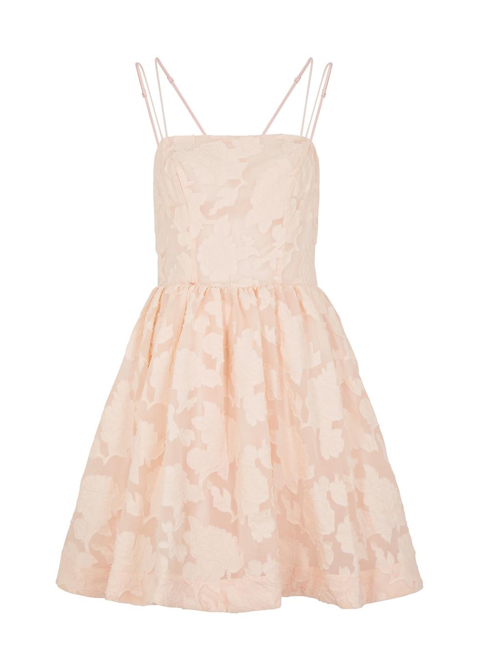 Offset blush fil coupé mini dress
