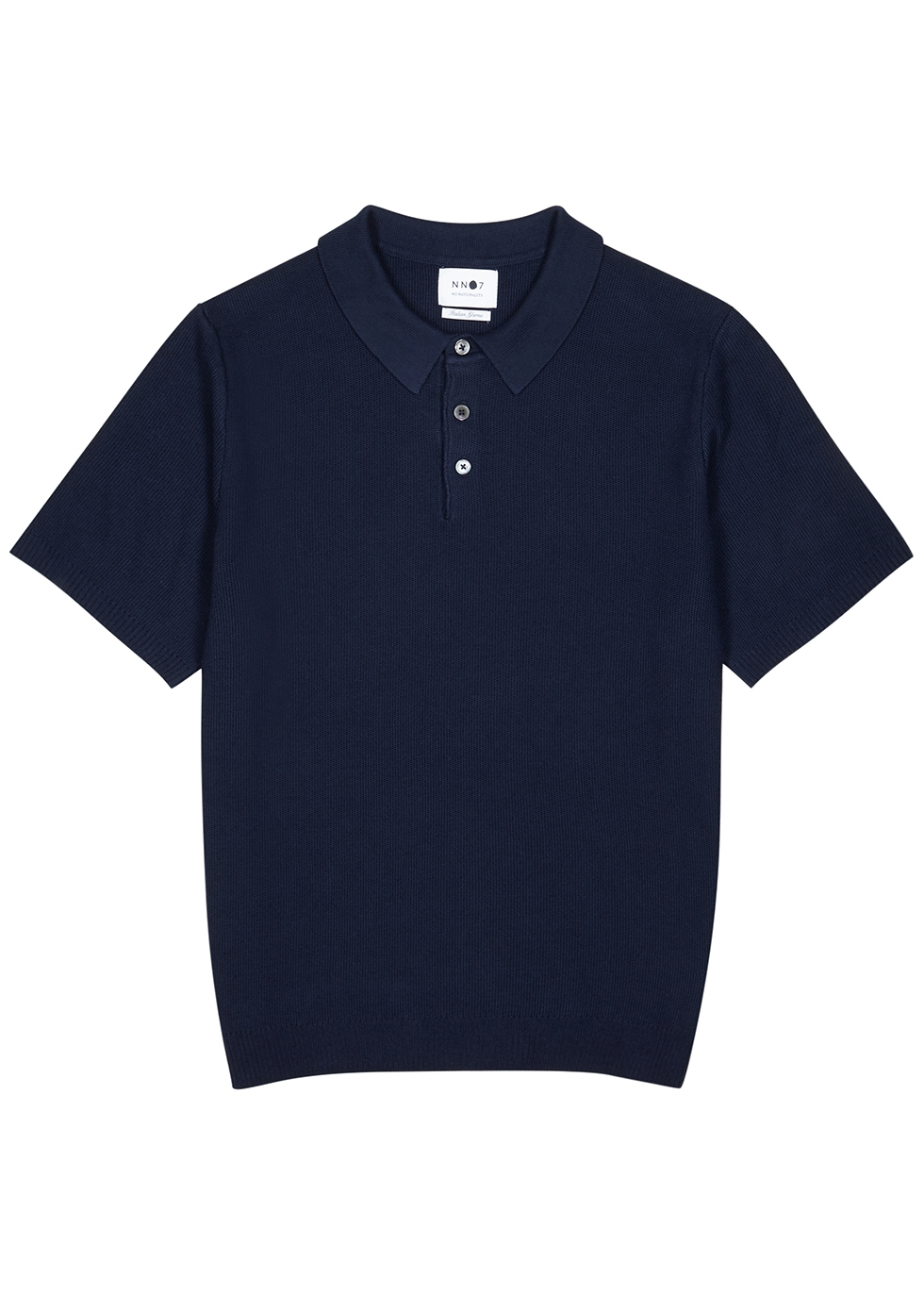 Alfie navy fine-knit polo shirt