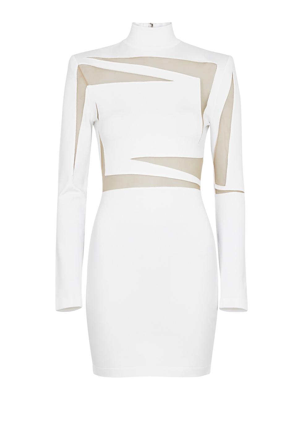 White cut-out stretch-knit mini dress