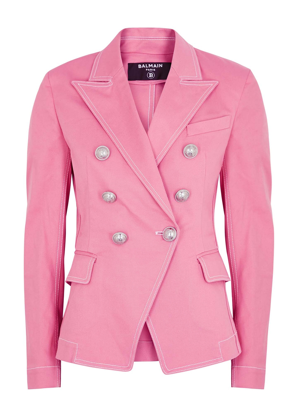 Pink double-breasted denim blazer